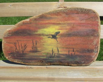 acrylic painting on Driftwood N2