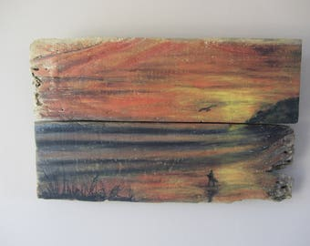 acrylic painting on Driftwood N3