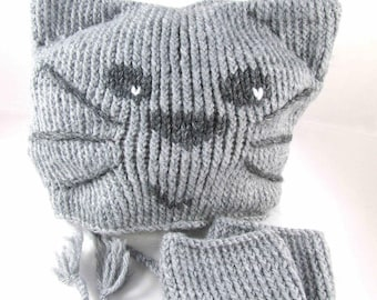 "Hat & mittens ""Mistigri, my little ' little grey cat"" - child 48/50 cm - unisex"