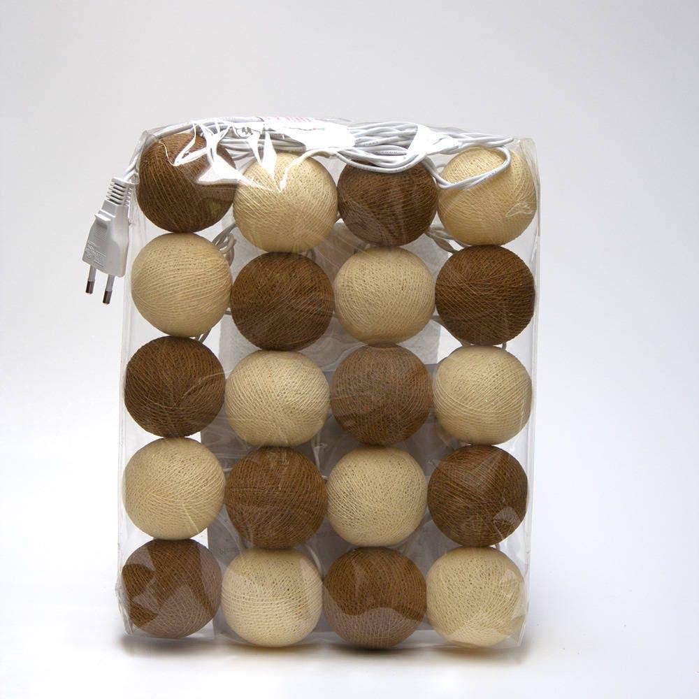 guirlande lumineuse lectrique 20 boules de coton. Black Bedroom Furniture Sets. Home Design Ideas