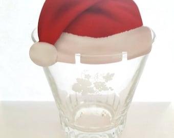 5 Christmas cards, Santa hats