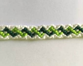 Light green, dark green and white Friendship Bracelet