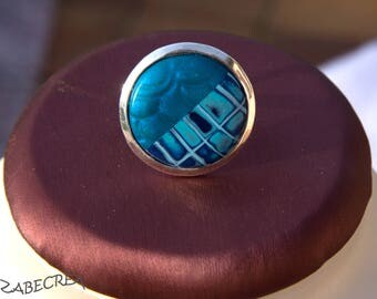 Original round ring in shades of blue mother of Pearl effect madras and mica shift polymer clay