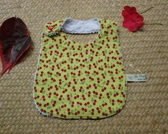 Bib for a newborn baby green pistachio with yummy cherries
