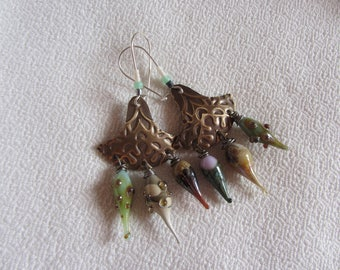 Ethnic earrings engraved with arabesques and metal charms glass artisan, gray, green, beige, Bohemian, boho, gypsy