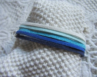 multi-row bracelet cuff Suede, shades of blue, turquoise, white, Navy