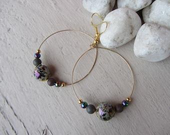 Lightweight dangle earrings, Bohemian chic, creole gold, iridescent round glass beads, Jasper, green, Khaki, purple gemstone bead, gold