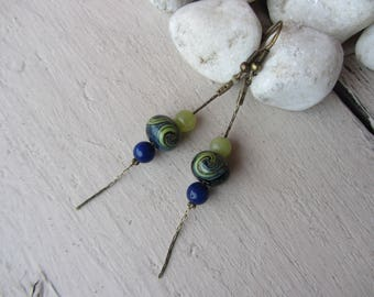 Bronze dangle earrings with serpentine stone (Lapis lazuli blue and green jade) and glass spun on chain
