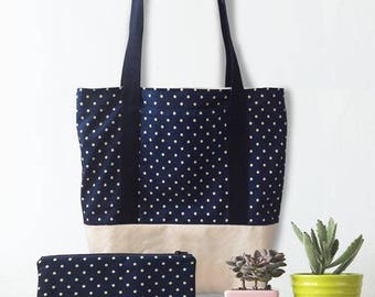 Tote bag and pouch - Theme: Navy blue dot
