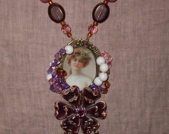 Pink Lily flower women designer necklace