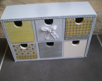 Box 6 drawers spirit seaside blue, yellow and gray
