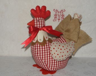 Decorative and Red cotton hen ref.1564