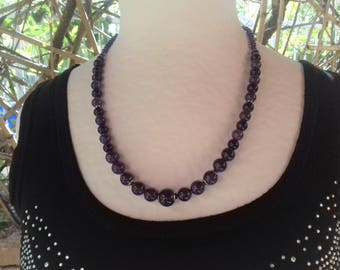 Stainless steel beaded necklace with beautiful quality Amethyst drop/stone of wisdom
