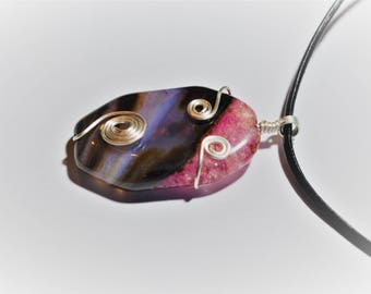 Leather and octagonal agate necklace / silver plated / stone of inner peace
