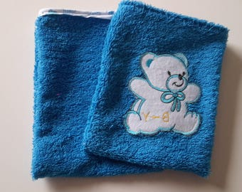 Set of 2 blue Washcloths; bias elephant. pattern bear/glove sponge child/bathroom