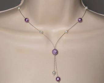 Wedding necklace white purple beads purple-Classic Collection - Marina necklace - wedding party