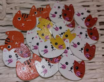 set of 20 wooden cat buttons