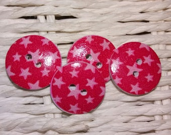 set of 4 wooden buttons red with stars