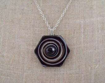 CLEARANCE black white transparent glass pendant necklace