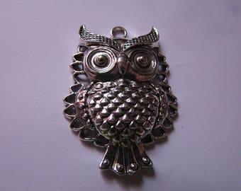 silver pendant owl 45mmx33mm