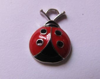 2 red and black ladybug 18mmx13mm pendants