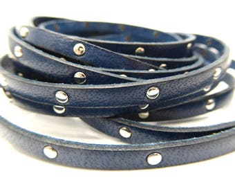 20 cm Navy Blue flat leather studded Silver 5 mm