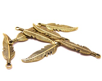 20 feather charms bronze metal light Gold 2.7 cms long