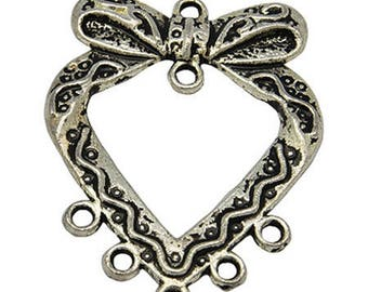 10 charms silver connector 3.8 cm long