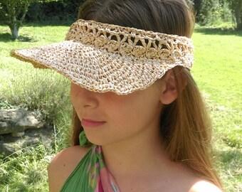 Visor / Hat crocheted raffia straw