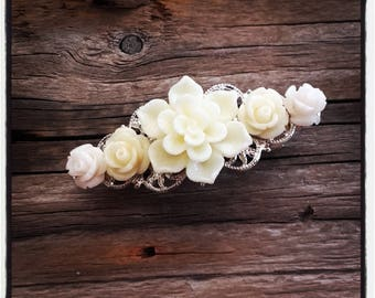 Hair accessory, off white colored wedding, vintage wedding hair