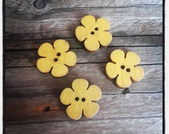set of 4 yellow 19x18mm wooden flower buttons