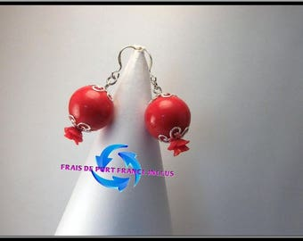 Red lampwork glass bead and 925 sterling silver Stud Earrings