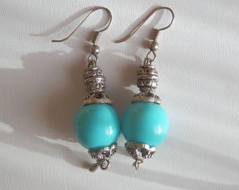 Fancy round turquoise earrings