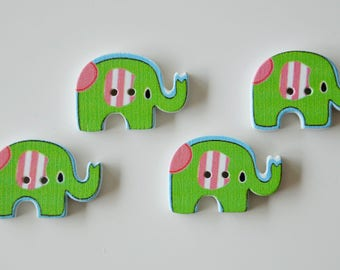 "4 buttons ""ELEPHANT"" green wooden version"
