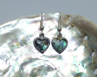 Pieces of Abalone heart earrings