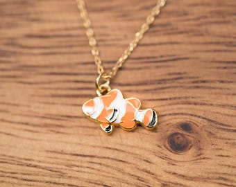 Gold Colored (Brass)  Necklace with Nemo Pendant