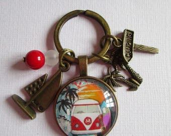 """Surf Sun and Combi"" keychain, bronze cabochon"