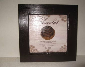 Free shipping! Chocolate-brown pattern decoupage frame