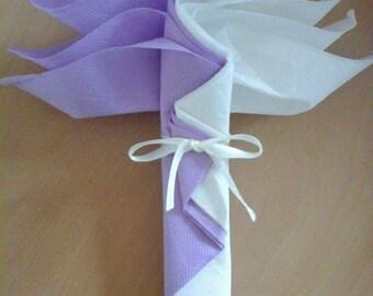 Folding Palm purple and white napkin (set of 20)