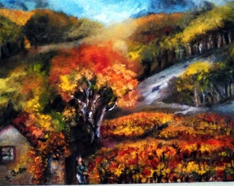 VINES of southern painting landscape realistic, evocative of French wine tradition 46 X 33 cm