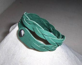 Double wrist circumference, hand braided green leather bracelet