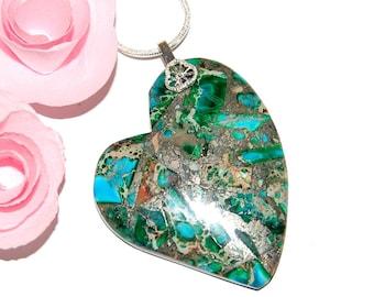Green Imperial Jasper - hallmark and 925 sterling silver heart pendant