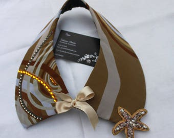 jeweled collar rounded sand beige