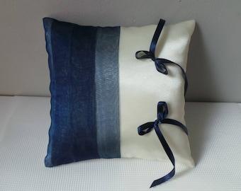 Navy Blue wedding ring bearer pillow and white modern and original