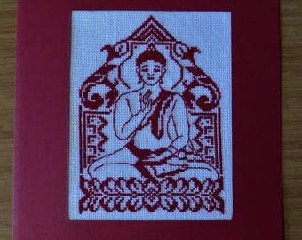 Hand embroidered card: seated Buddha - red Monochrome