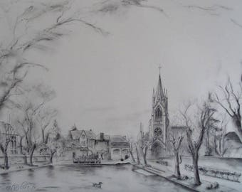 Painting of the city of beggars in winter