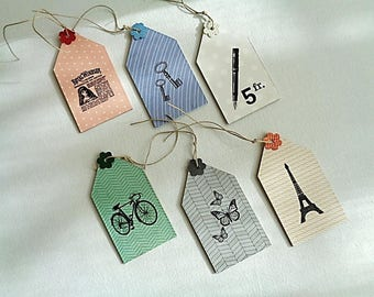 Set of 6 gift tags or labels deco cardboard thickness 2 mm