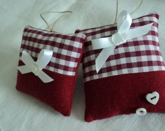 2 small garnet red linen cushions and gingham