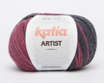 wool degraded Knitting ARTIST from KATIA 314 noir_gris_rouge_grenat colors