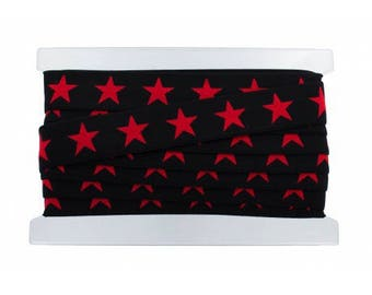 belt elastic 40 mm in diameter x 50 cm red stars